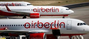 German carrier AirBerlin's aircrafts are pictured at Tegel airport in Berlin